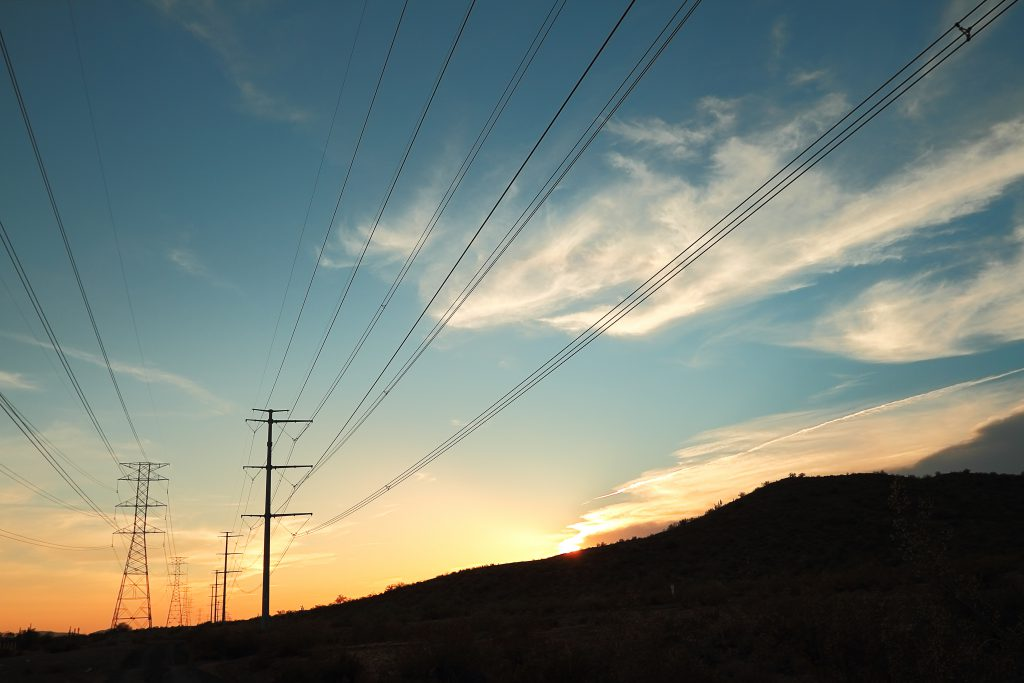 sunset with outline of power line