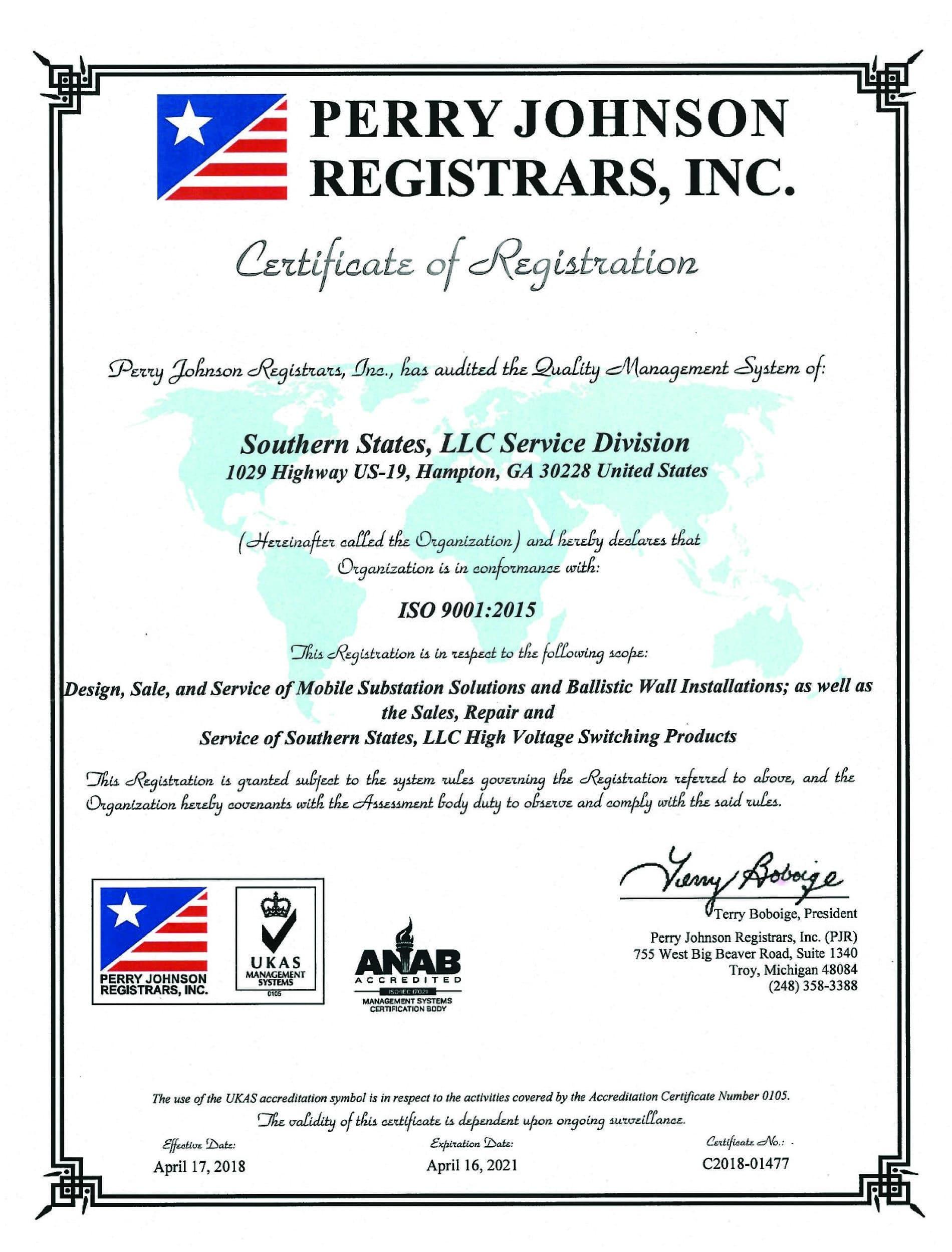 registration certification